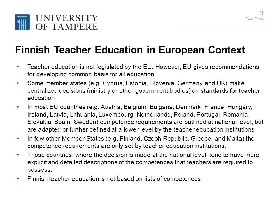 Finnish Teacher Education in European Context
