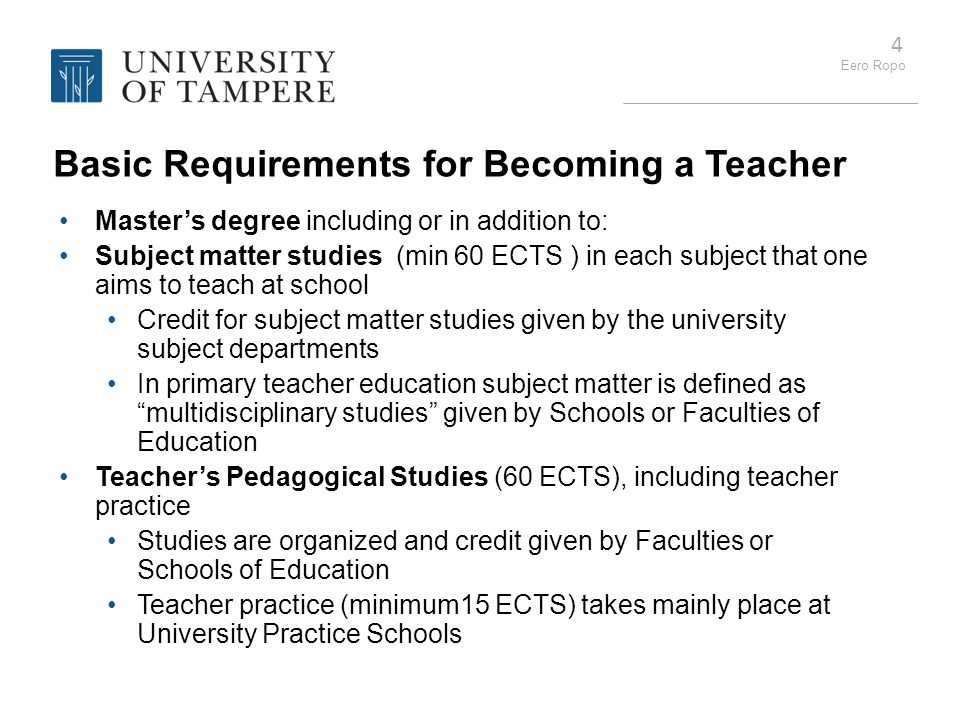 Basic Requirements for Becoming a Teacher