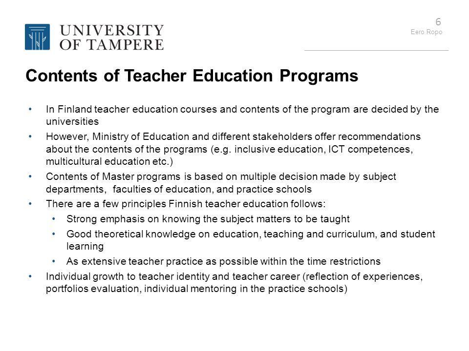 Contents of Teacher Education Programs