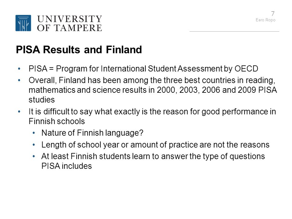 PISA Results and Finland