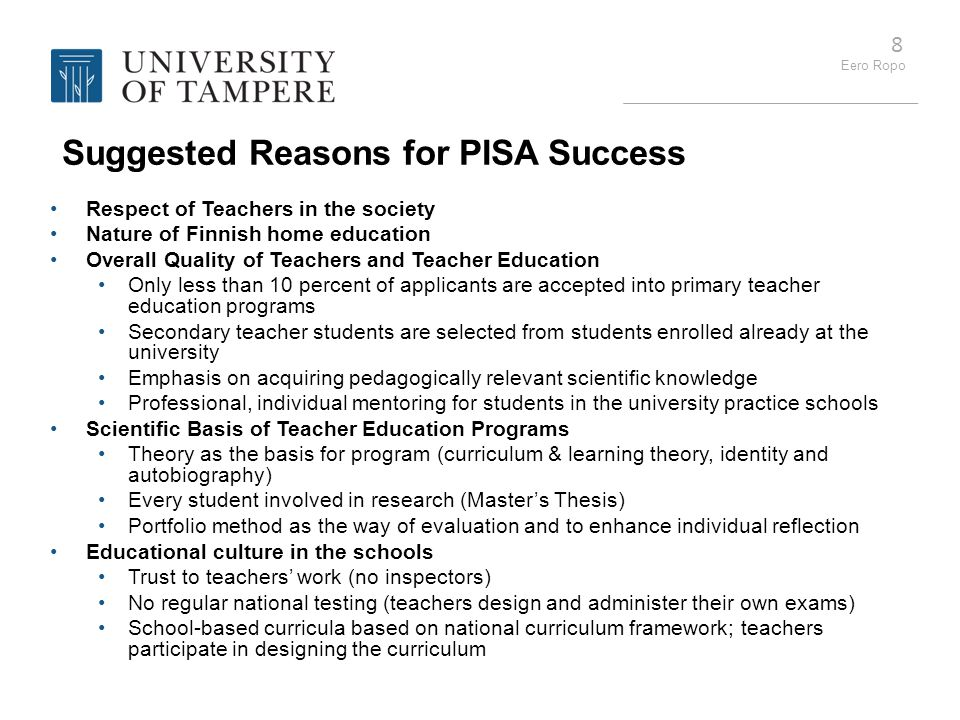 Suggested Reasons for PISA Success