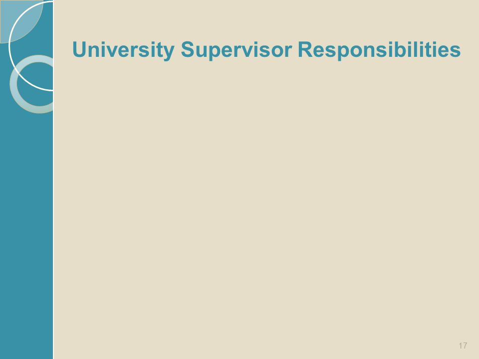 University Supervisor Responsibilities