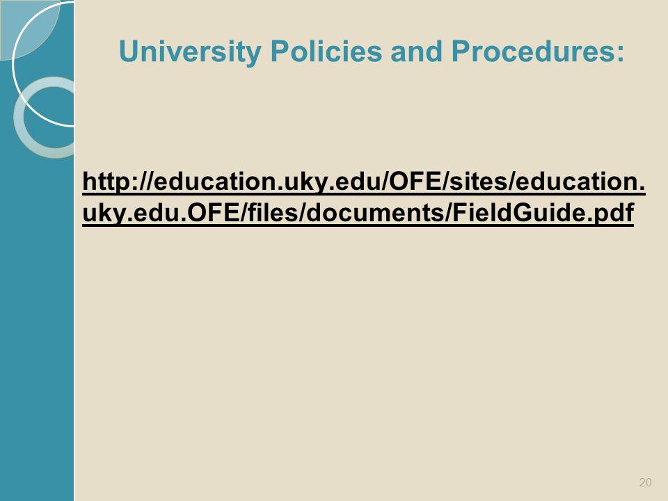 University Policies and Procedures: