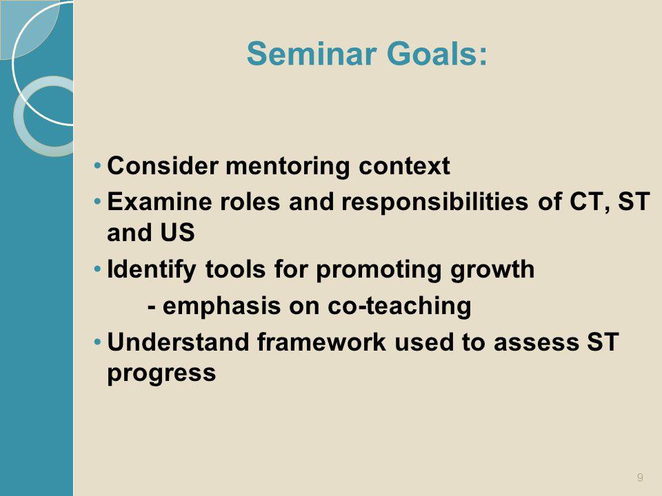 Seminar Goals: Consider mentoring context