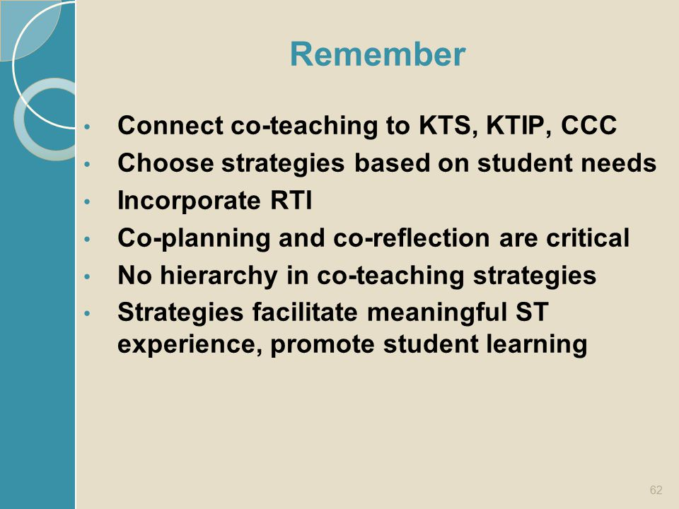 Remember Connect co-teaching to KTS, KTIP, CCC