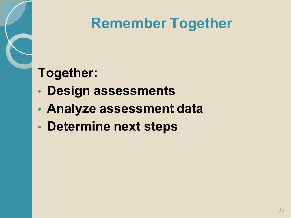 Remember Together Together: Design assessments Analyze assessment data