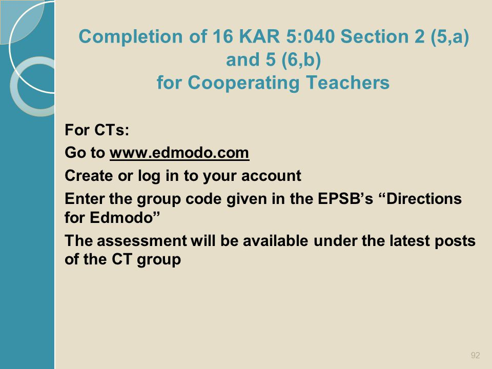 Completion of 16 KAR 5:040 Section 2 (5,a) and 5 (6,b) for Cooperating Teachers