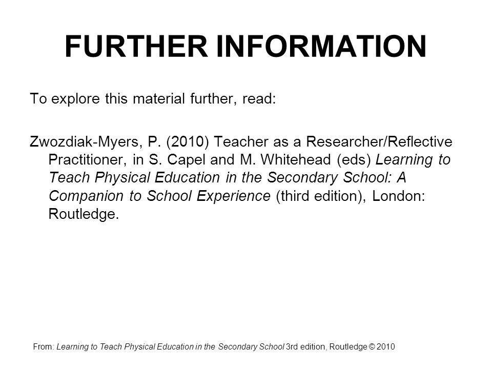 FURTHER INFORMATION To explore this material further, read: