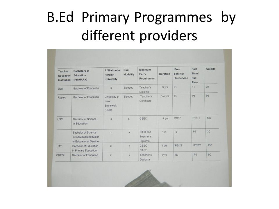 B.Ed Primary Programmes by different providers