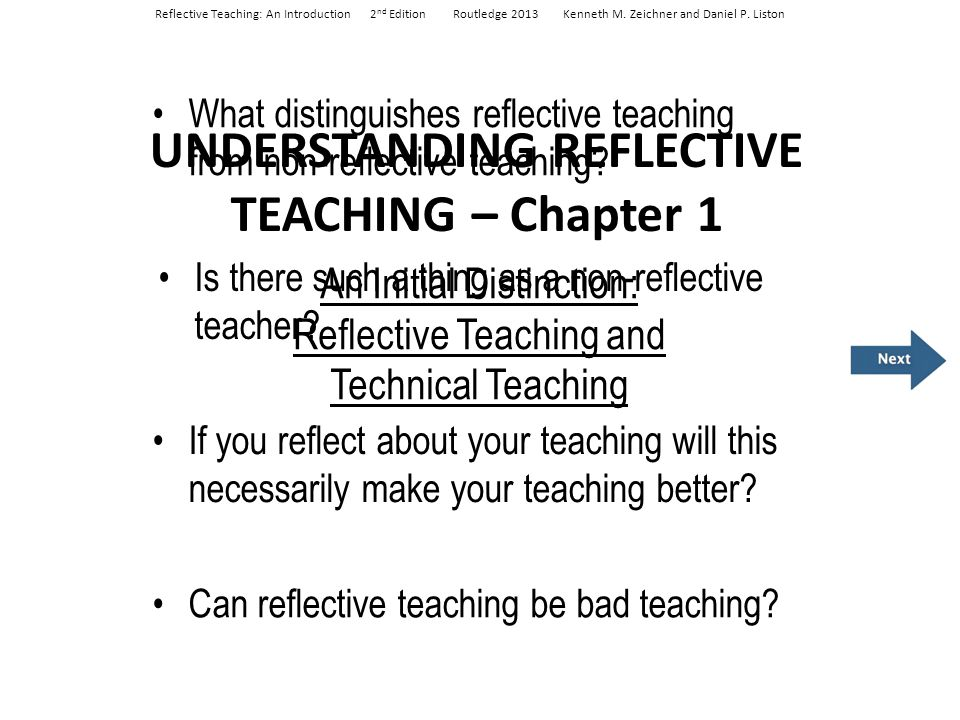 UNDERSTANDING REFLECTIVE TEACHING – Chapter 1