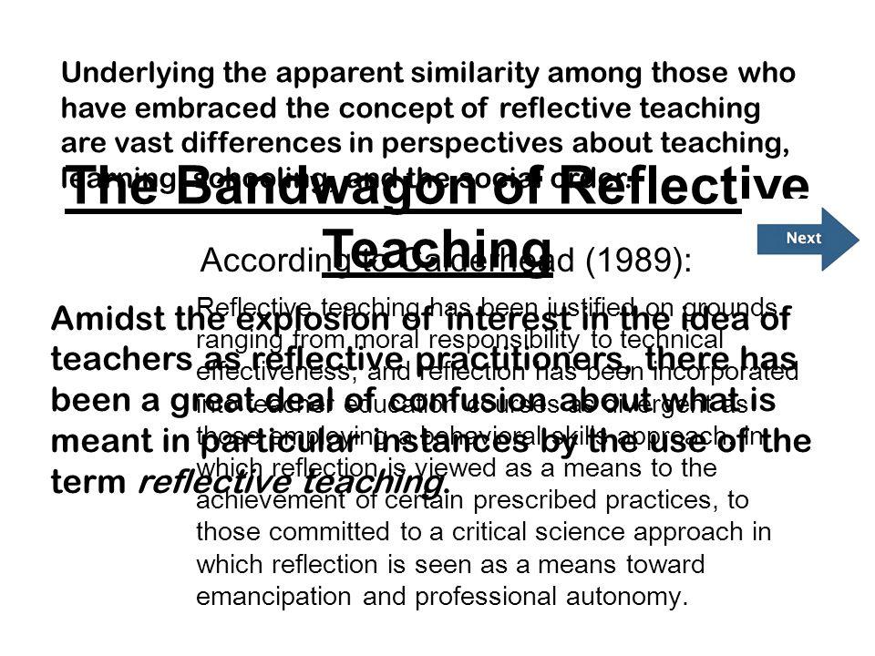 The Bandwagon of Reflective Teaching