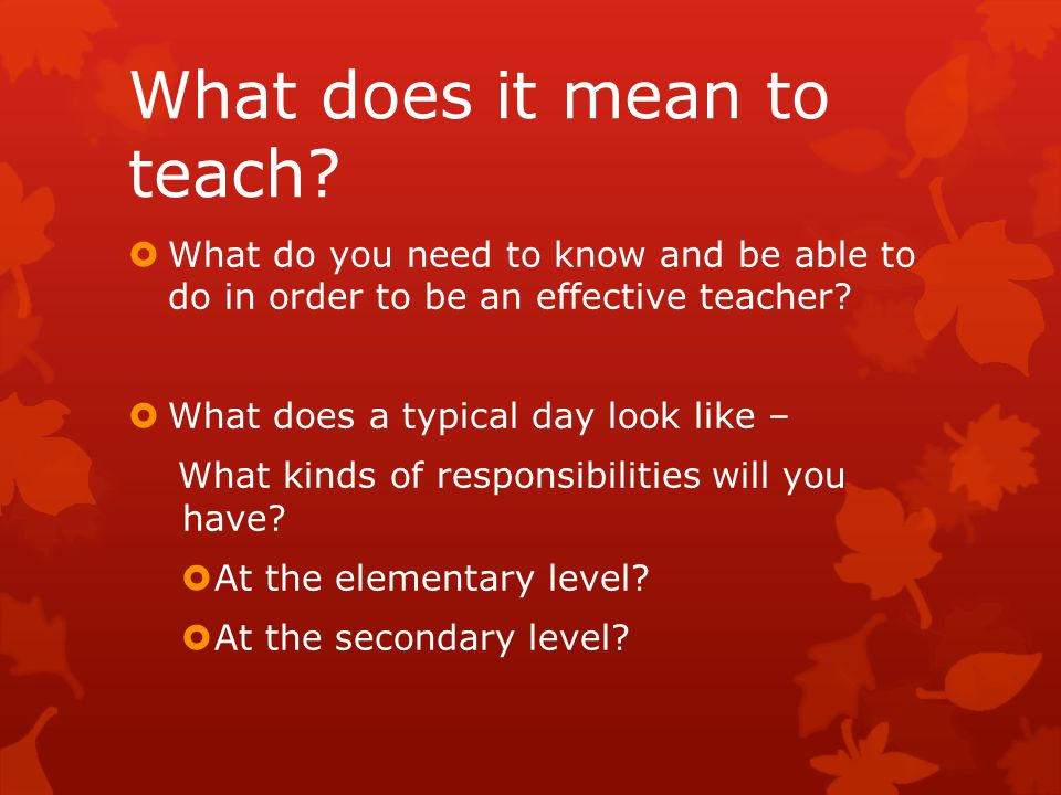 What does it mean to teach