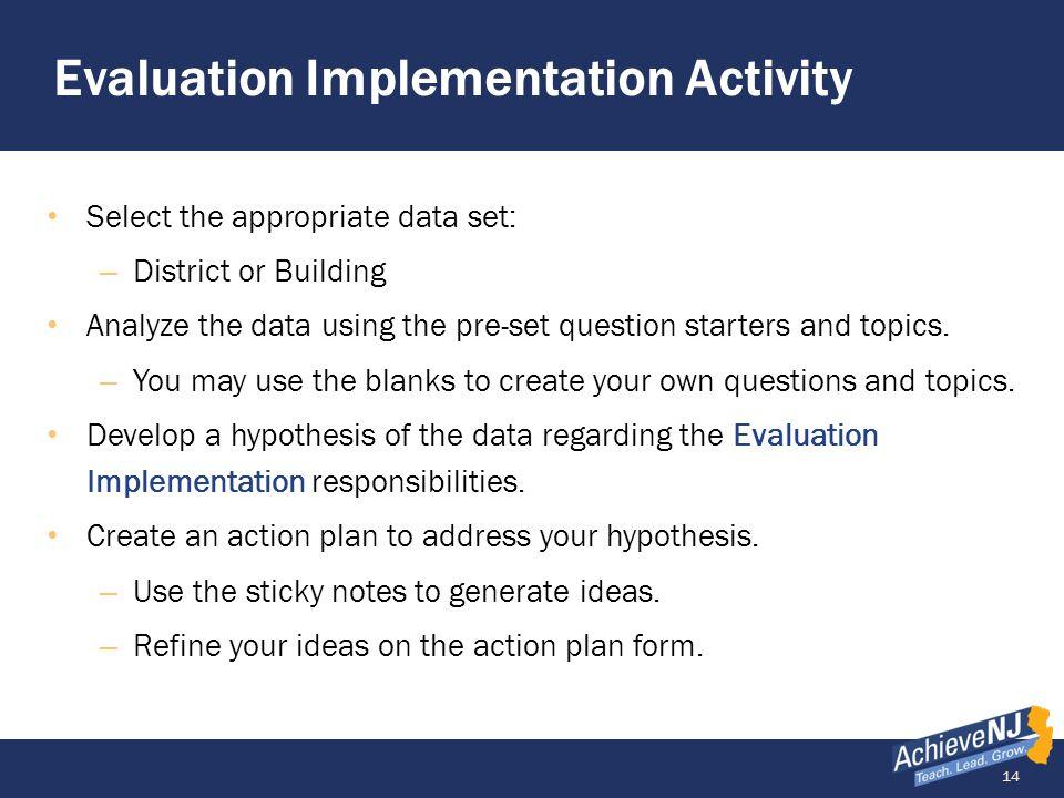 Evaluation Implementation Activity