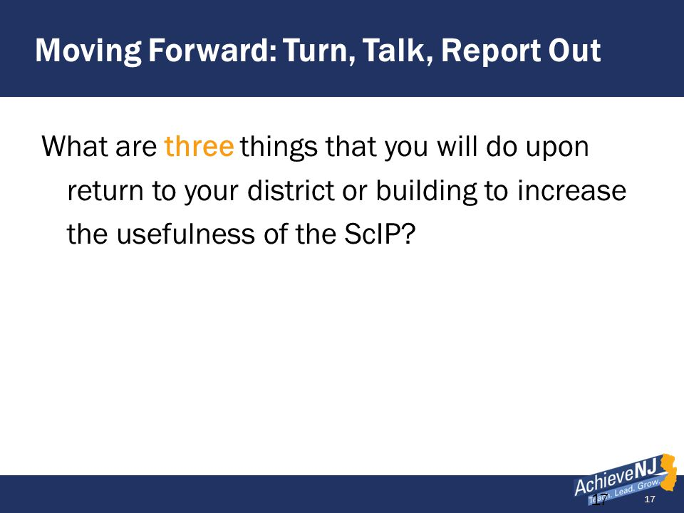 Moving Forward: Turn, Talk, Report Out