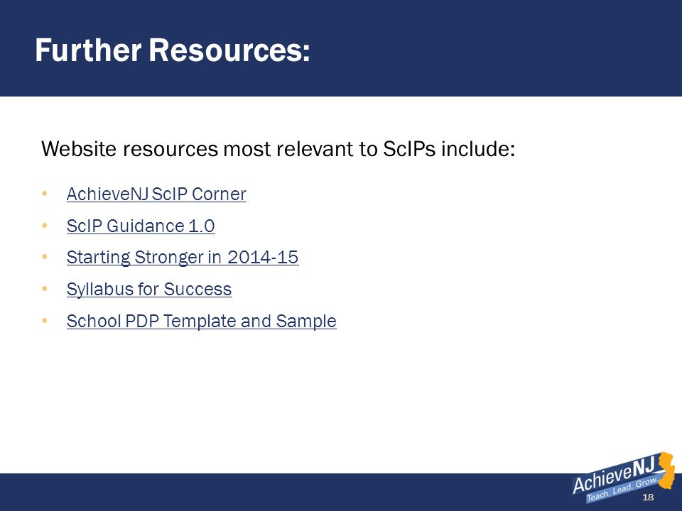 Further Resources: Website resources most relevant to ScIPs include: