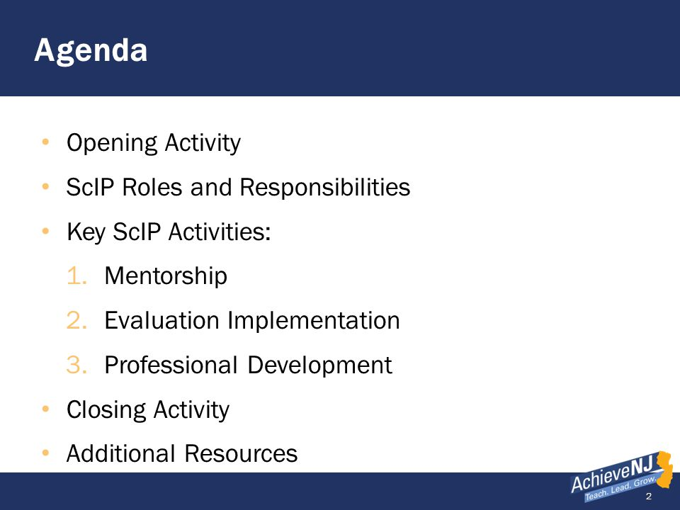Agenda Opening Activity ScIP Roles and Responsibilities