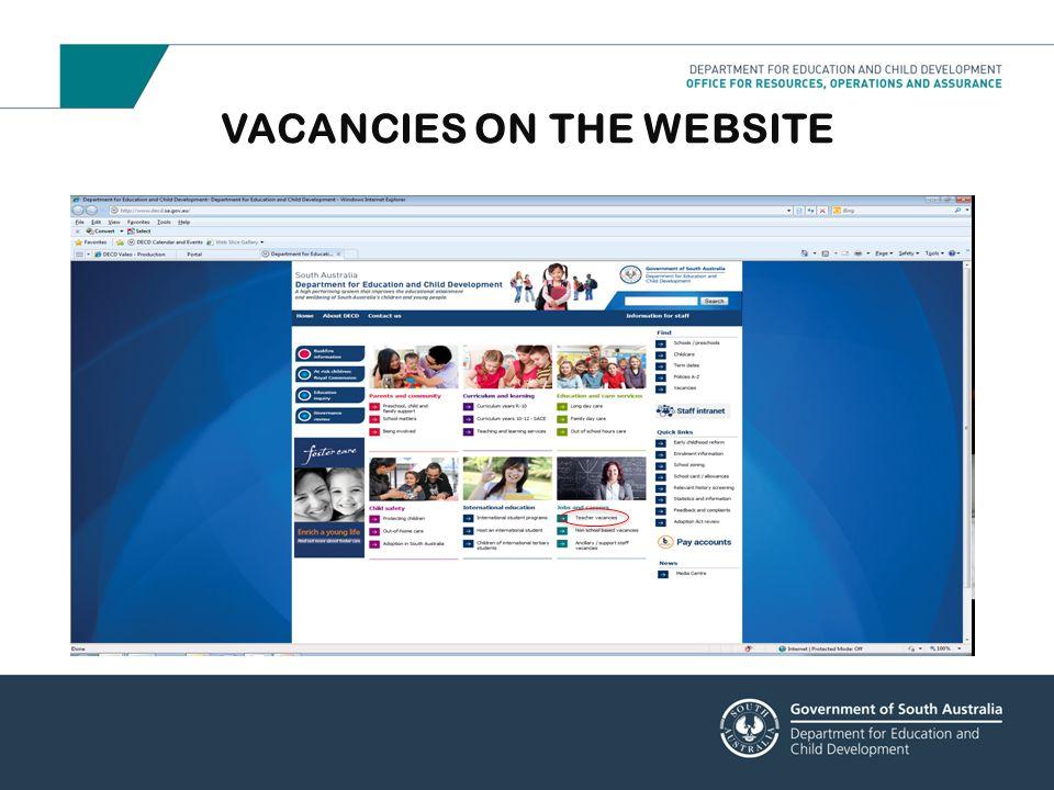 VACANCIES ON THE WEBSITE