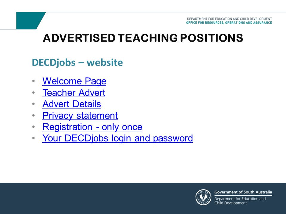 ADVERTISED TEACHING POSITIONS