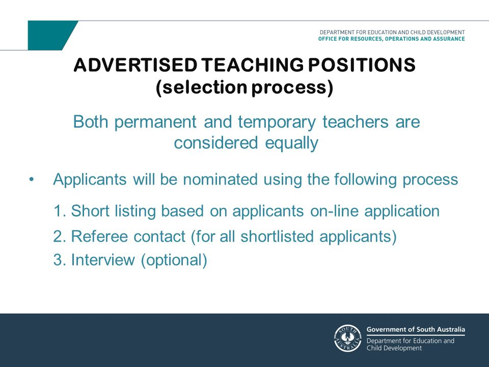 ADVERTISED TEACHING POSITIONS (selection process)
