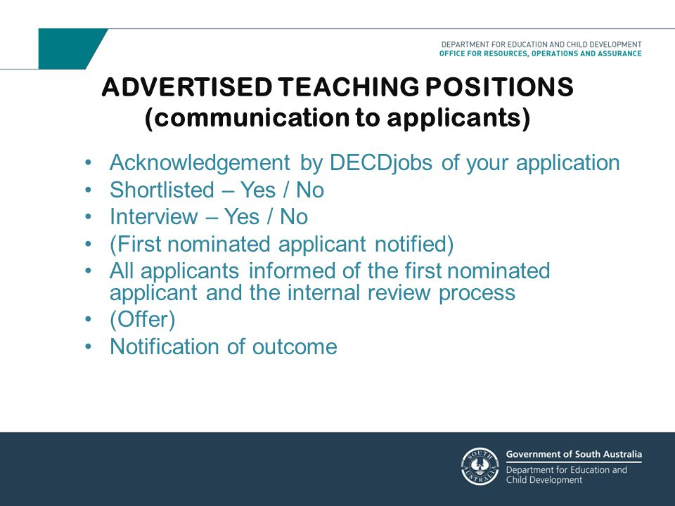 ADVERTISED TEACHING POSITIONS (communication to applicants)