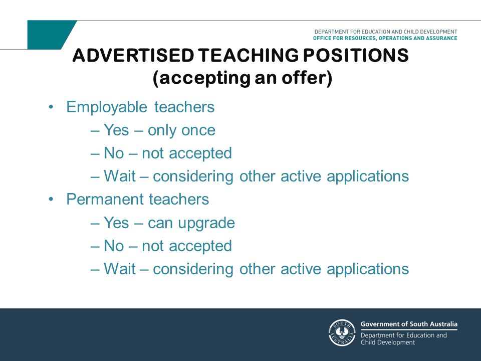ADVERTISED TEACHING POSITIONS (accepting an offer)