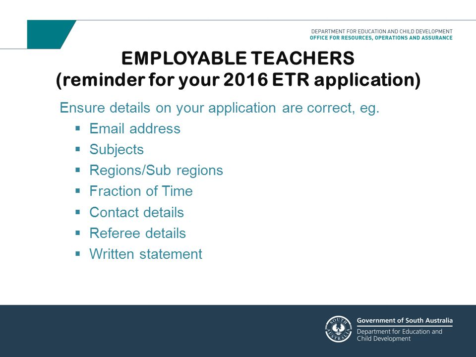 EMPLOYABLE TEACHERS (reminder for your 2016 ETR application)
