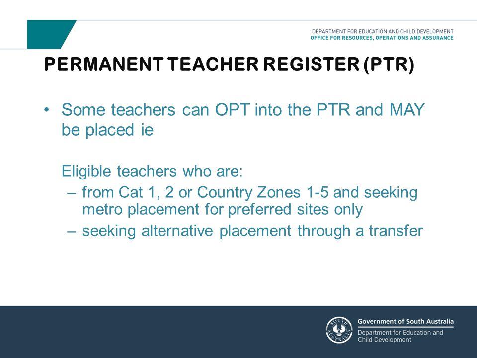 PERMANENT TEACHER REGISTER (PTR)