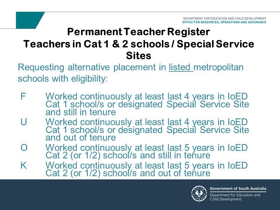 Permanent Teacher Register Teachers in Cat 1 & 2 schools / Special Service Sites