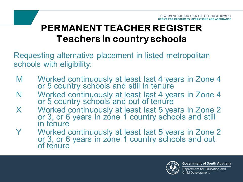 PERMANENT TEACHER REGISTER Teachers in country schools