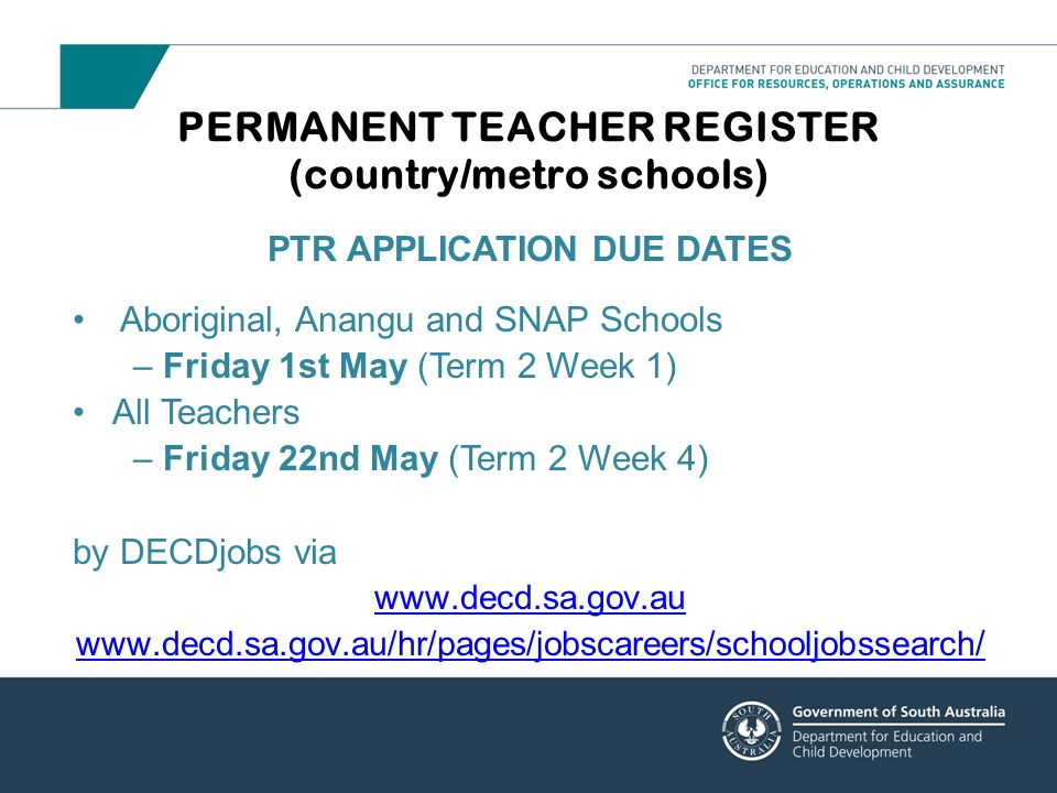 PERMANENT TEACHER REGISTER (country/metro schools)