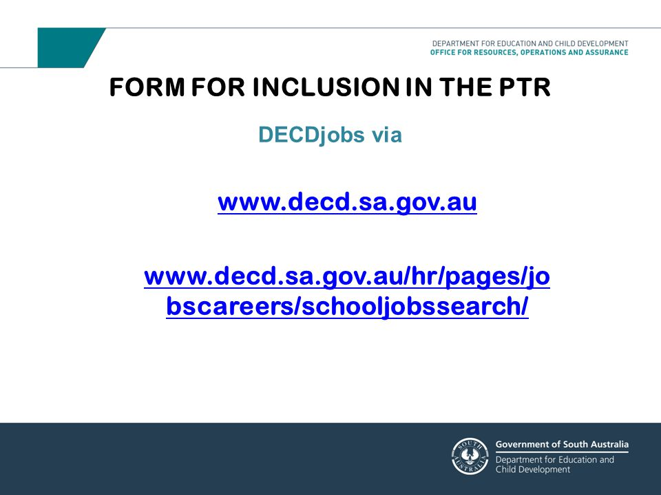 FORM FOR INCLUSION IN THE PTR