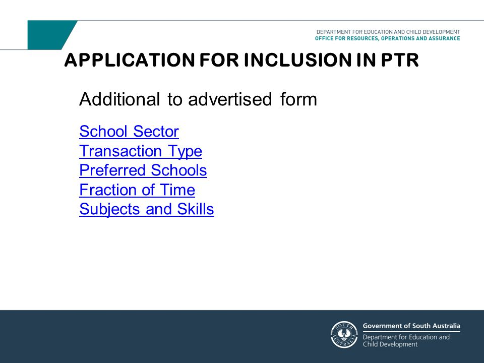 APPLICATION FOR INCLUSION IN PTR