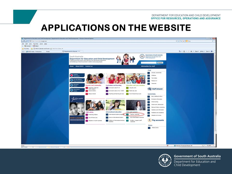 APPLICATIONS ON THE WEBSITE