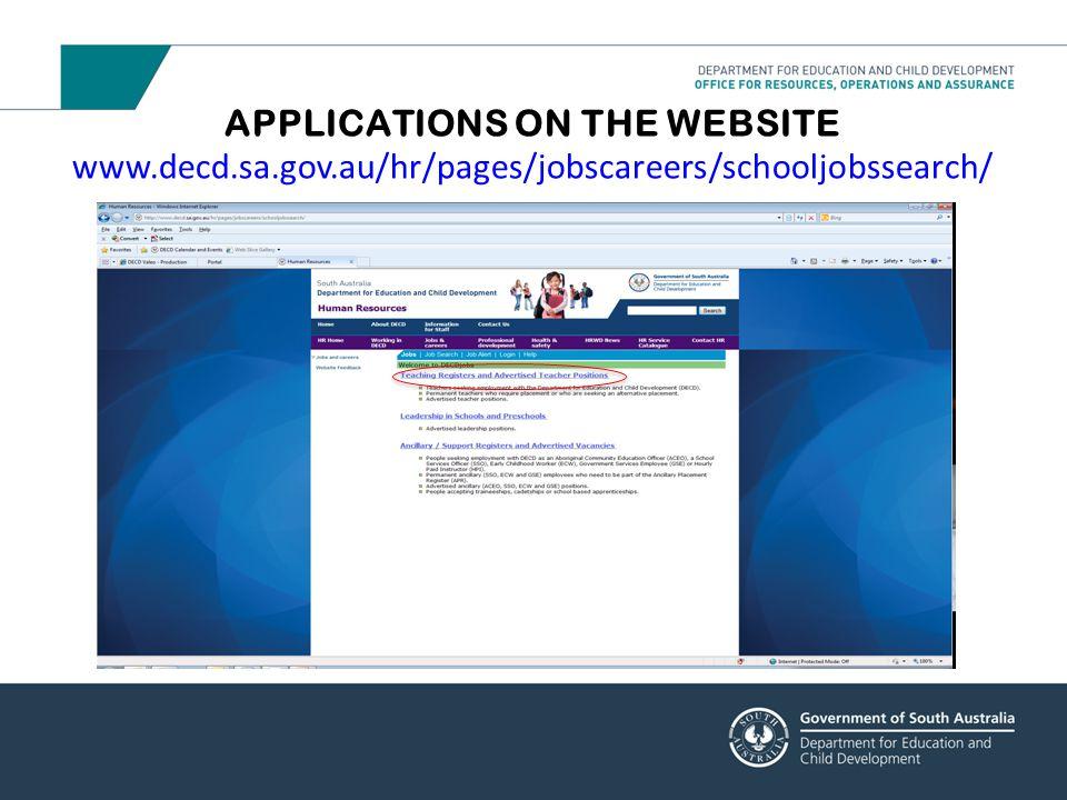 APPLICATIONS ON THE WEBSITE www. decd. sa. gov
