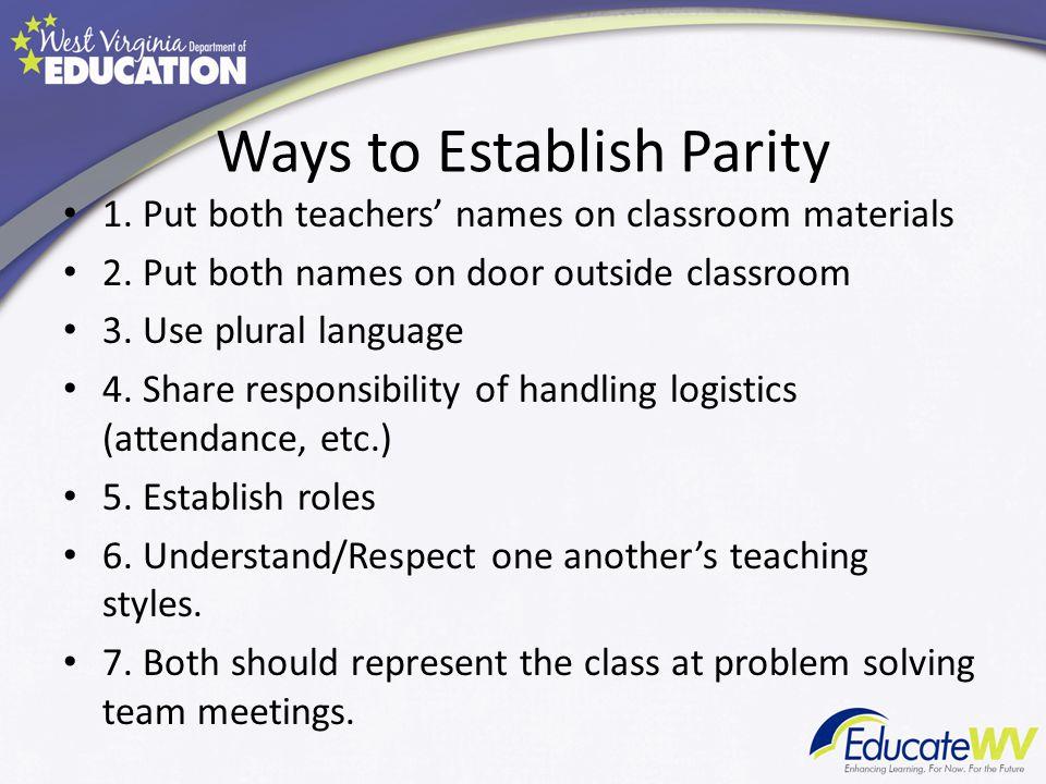 Ways to Establish Parity