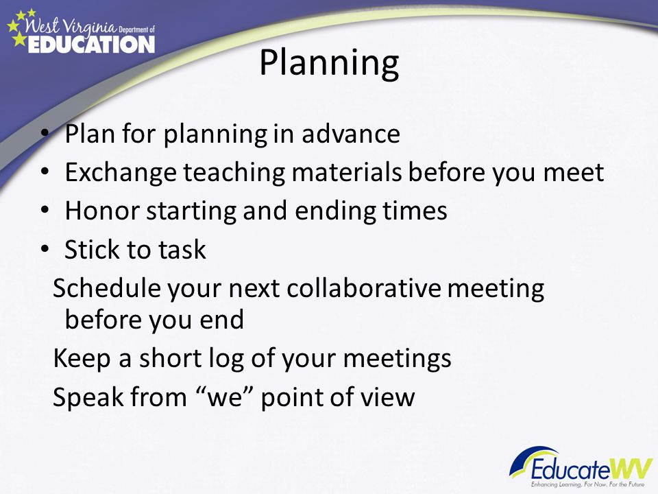 Planning Plan for planning in advance