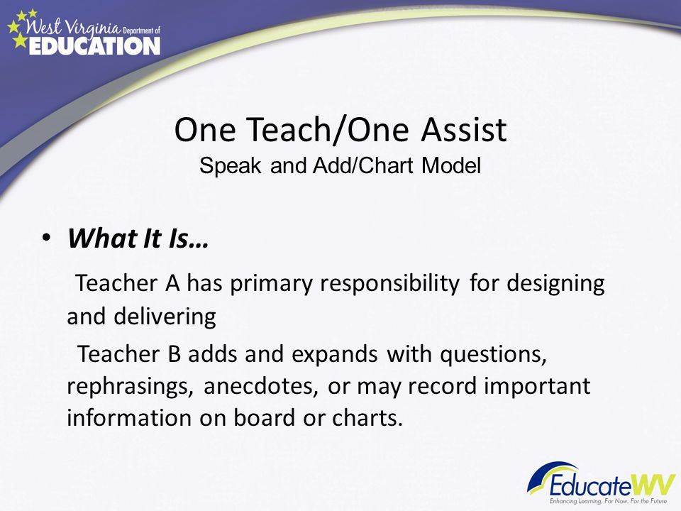 One Teach/One Assist Speak and Add/Chart Model