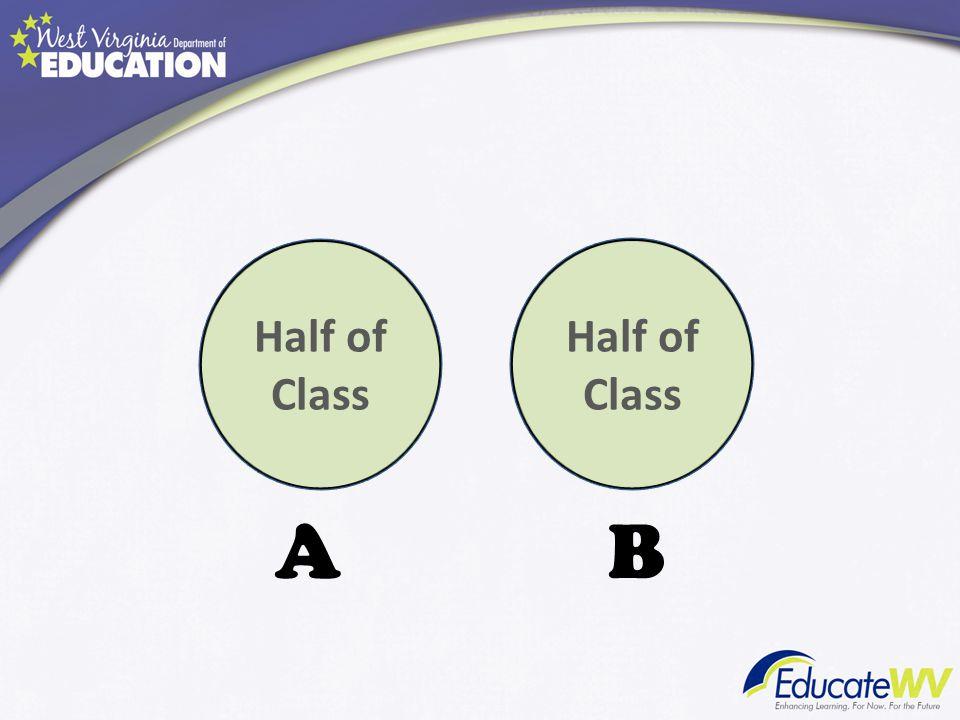 A B Half of Class Half of Class