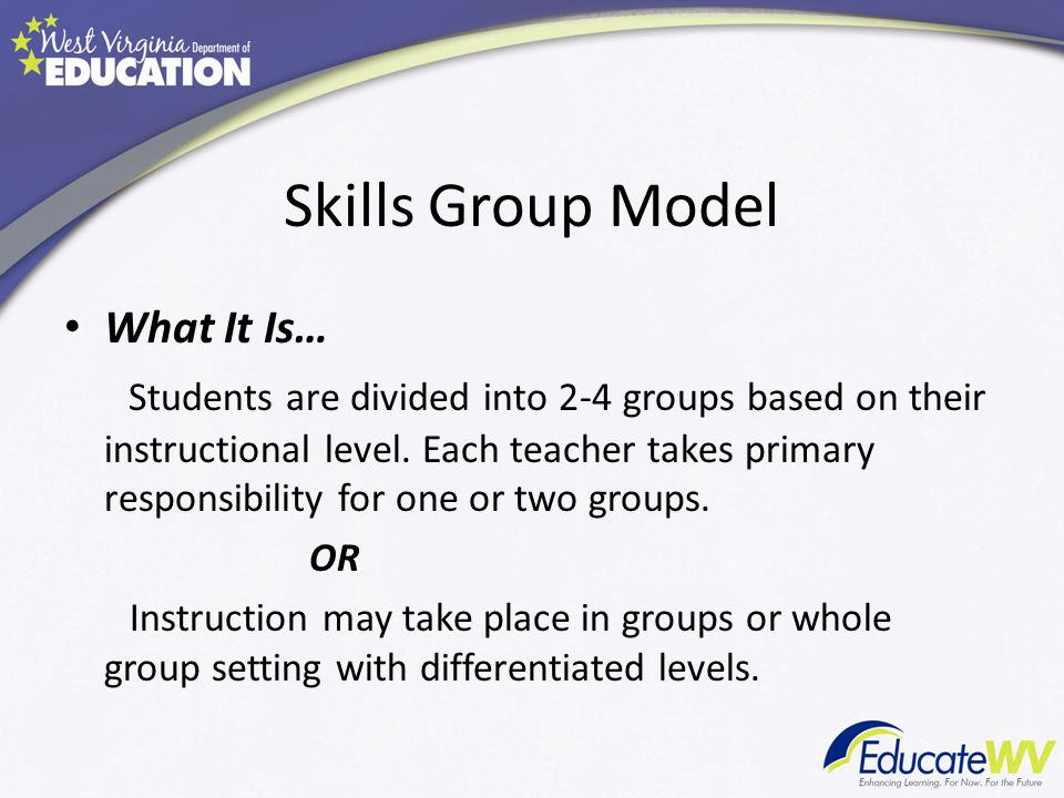 Skills Group Model What It Is…