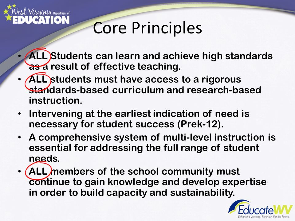 Core Principles ALL Students can learn and achieve high standards as a result of effective teaching.