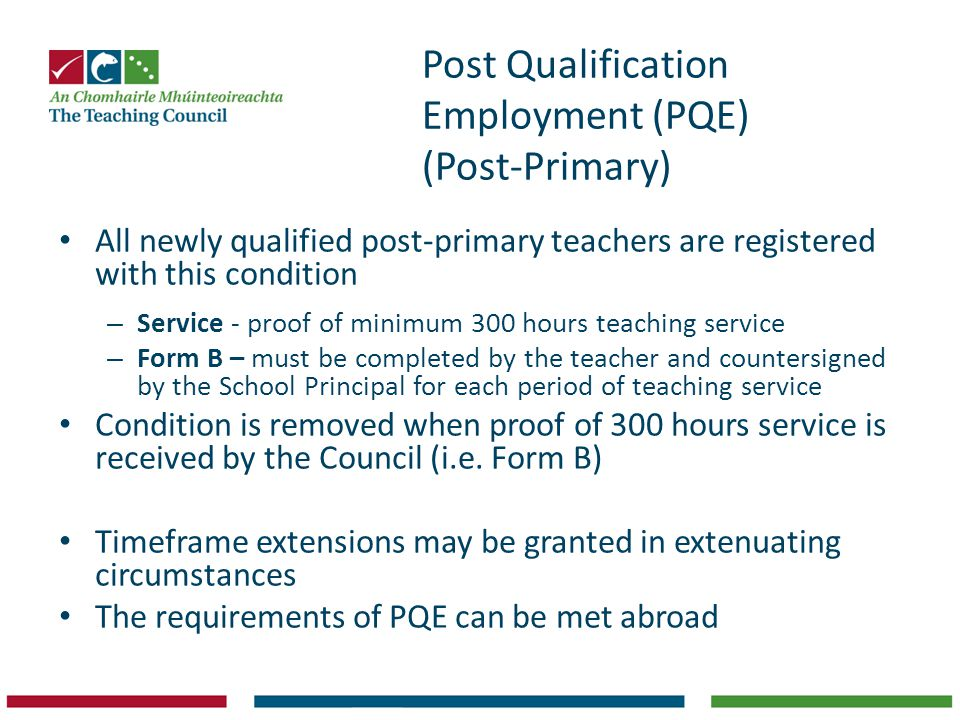 Post Qualification Employment (PQE) (Post-Primary)