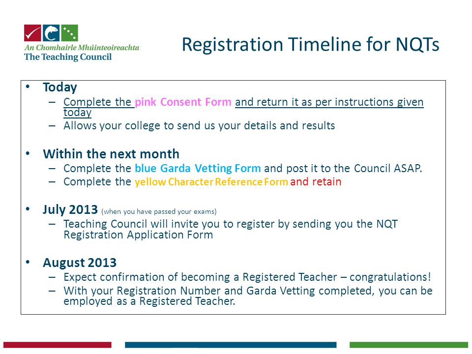 Registration Timeline for NQTs
