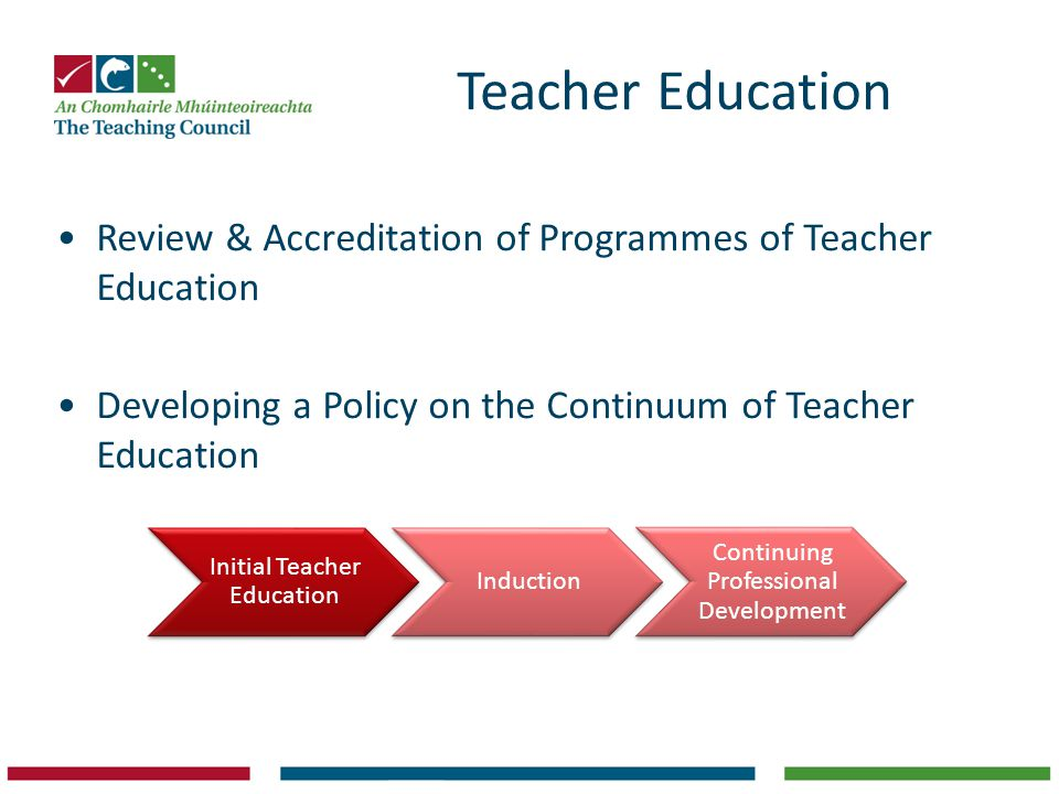 Teacher Education Review & Accreditation of Programmes of Teacher Education. Developing a Policy on the Continuum of Teacher Education.