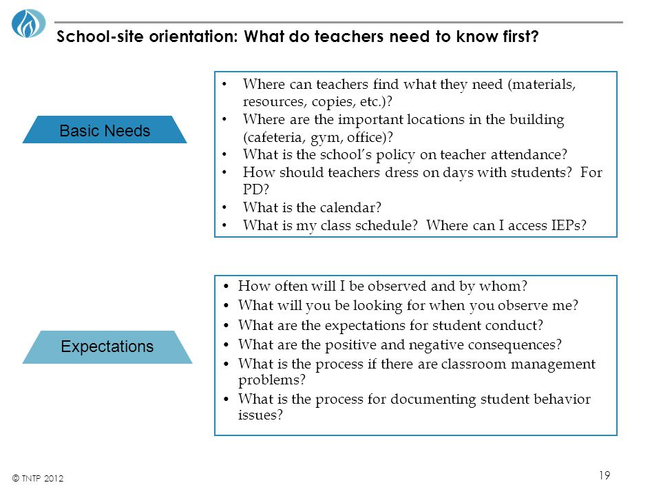 School-site orientation: What do teachers need to know first