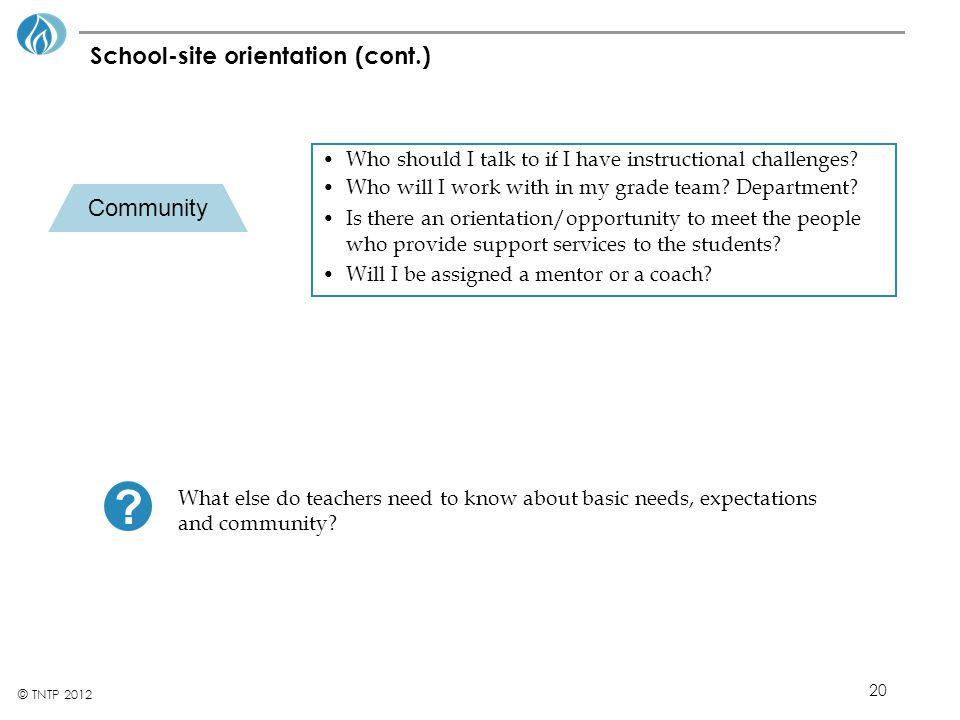 School-site orientation (cont.)