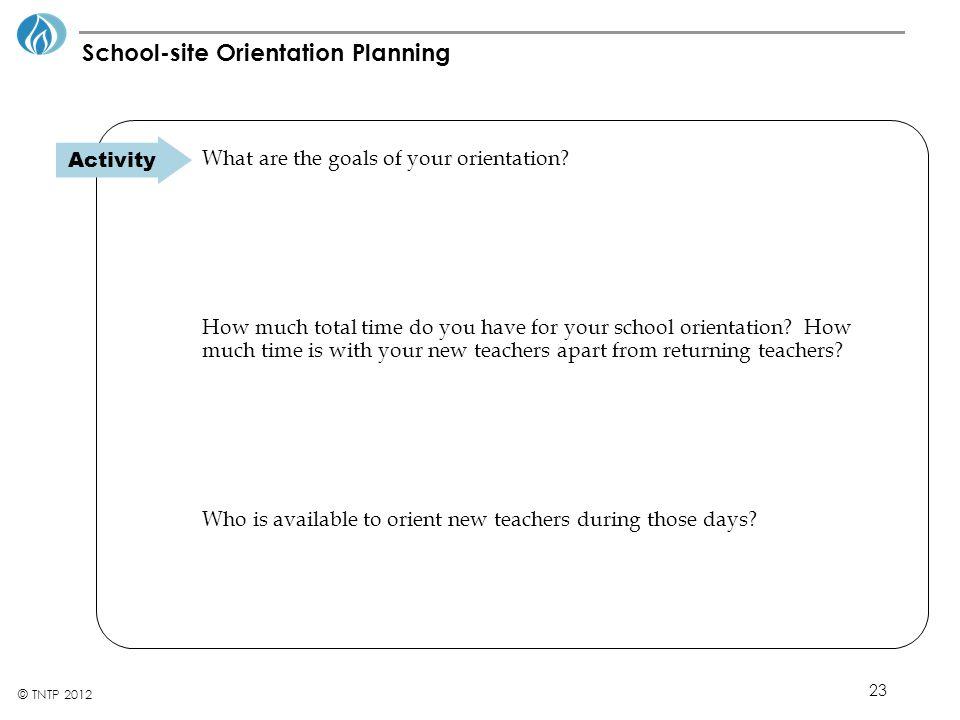 School-site Orientation Planning