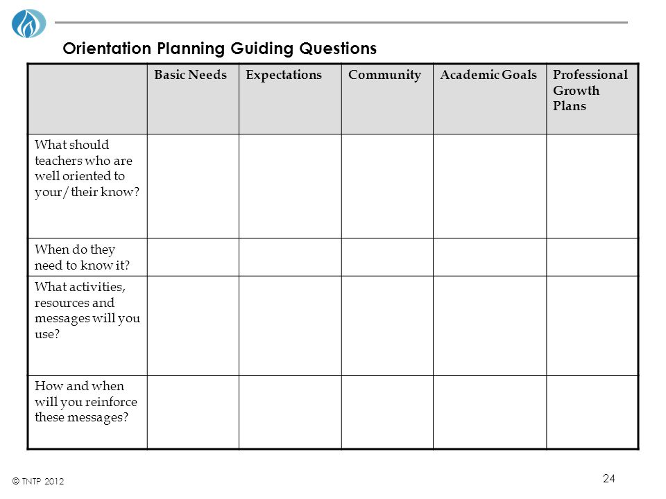 Orientation Planning Guiding Questions
