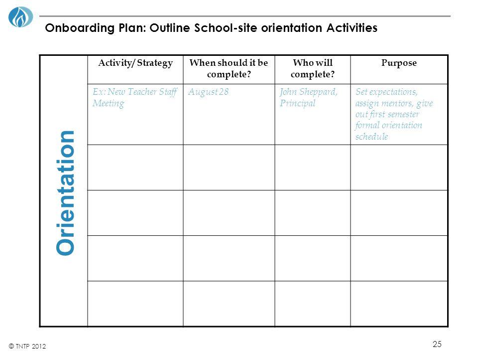 Onboarding Plan: Outline School-site orientation Activities