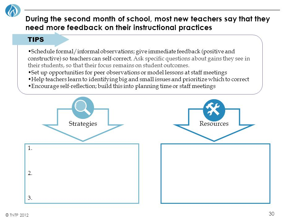 During the second month of school, most new teachers say that they need more feedback on their instructional practices
