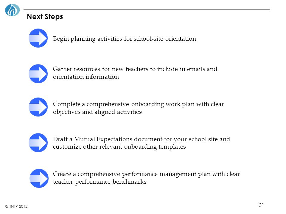 Next Steps Begin planning activities for school-site orientation